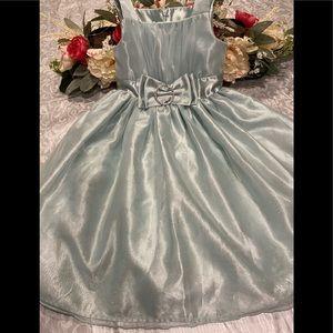 Ice Blue Dress w Bow Sleeveless 8